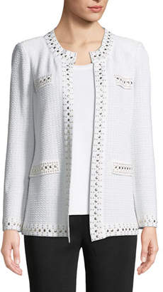 Misook Stud-Trim Knit Jacket, Plus Size