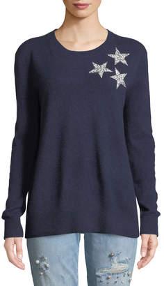 Neiman Marcus Cashmere Sequin-Star Sweater, Navy