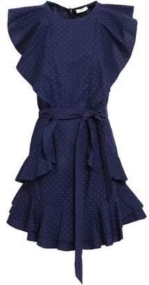 Joie Malachy Polka-Dot Ruffled Cotton-Poplin Mini Dress