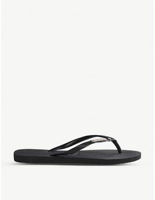 Havaianas Slim embellished rubber flip-flops