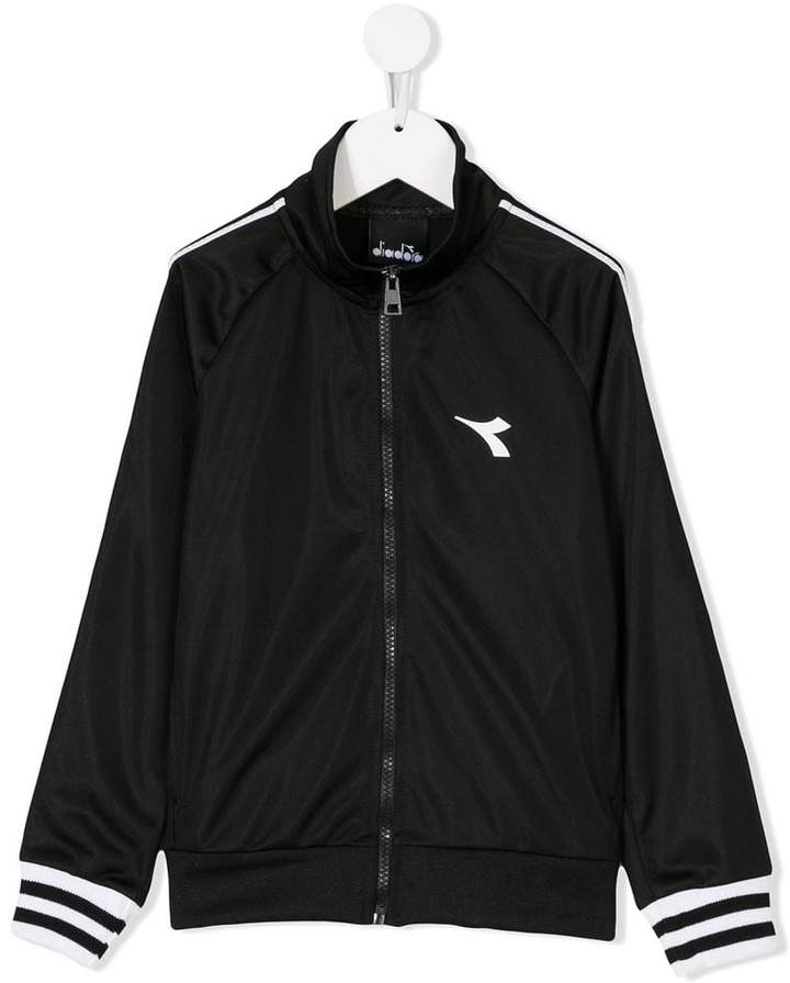 Diadora Junior striped zip-up sweatshirt