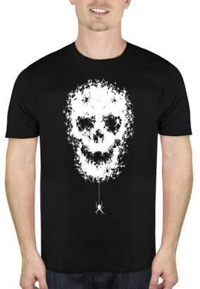 HALLOWEEN Spider Skull Men's Halloween Humor Graphic T-shirt, up to Size 5XL