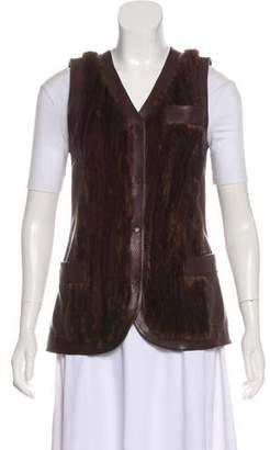 Dolce & Gabbana Fur-Trimmed Leather Vest