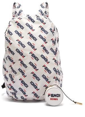 Fendi Mania Help Leather Bag Charm & Fold Away Backpack - Womens - White Multi
