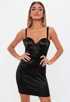 3a6245a75f8 Missguided Black Satin Bust Cup Bodycon Mini Dress