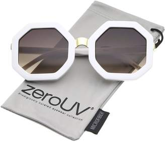 Zerouv Retro Metal Nose Bridge Octagon Shape Oversize Sunglasses 53mm (White-Gold/Lavender)