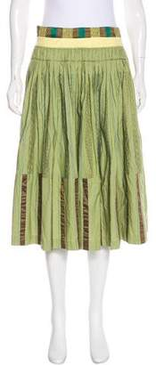 Dries Van Noten Pleated Embroidered Skirt
