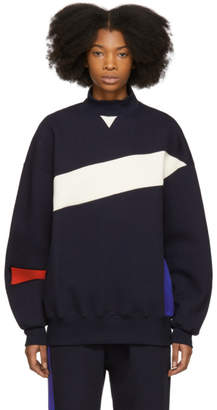ADER error Navy Colorblock Mock Neck Sweatshirt