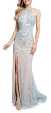 Terani Couture Glamour by V-Back Beaded Gown