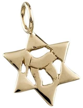 14K Yellow Gold Star of David Chai Pendant