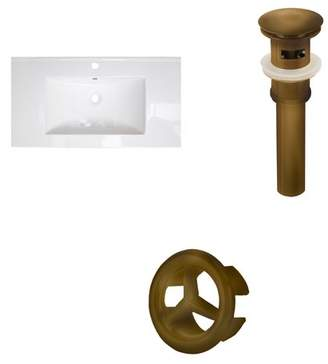 "RoyalPurpleBathKitchen Flair Ceramic 37"" Single Bathroom Vanity Top Faucet Mount: 4"" Centers, Drain"