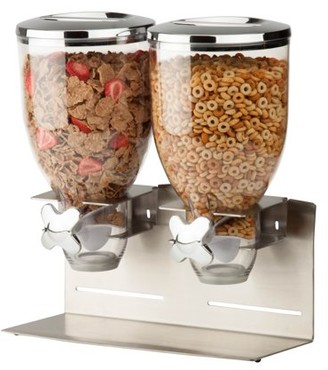 Honey-Can-Do Zevro by Designer Edition Stainless Steel Double 17.5 oz. Cereal Dispenser