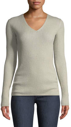 Neiman Marcus Cashmere Ribbed V-Neck Sweater