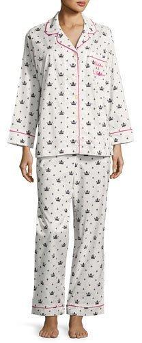 BedHeadBedhead Queen Long-Sleeve Pajama Set, White/Black, Plus Size