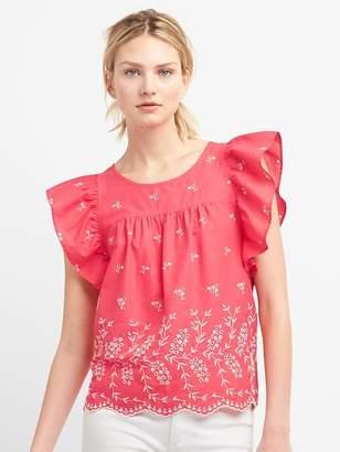 Gap Eyelet Embroidery Flutter Sleeve Top