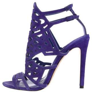 Brian Atwood Suede Caged Pumps