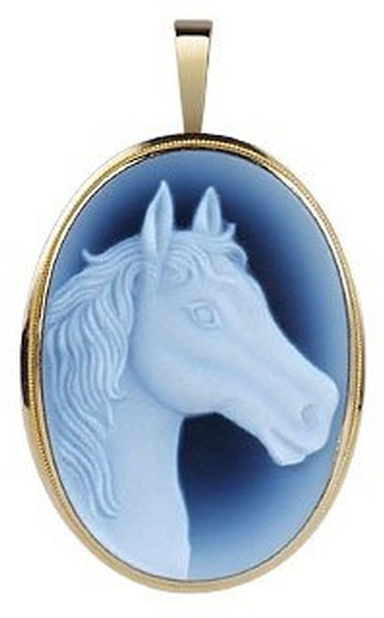 Del Gatto Horse Agate Stone Cameo Pendant/Pin