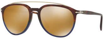 Persol Reflex Edition PO3159S Mirrored Pilot Sunglasses, Terra e Oceano $270 thestylecure.com