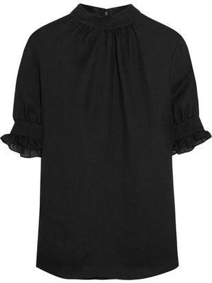 McQ Alexander McQueen - Guipure Lace-trimmed Gauze Blouse - Black $365 thestylecure.com