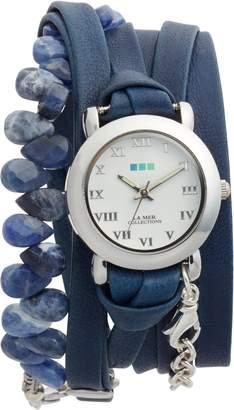 La Mer Stone & Leather Wrap Strap Watch, 22mm