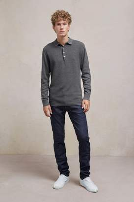 Fcus Textured Knit Long Sleeved Polo Shirt