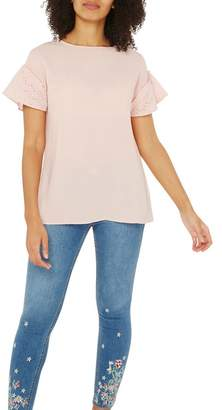 Dorothy Perkins Pink Lace Sleeve Top