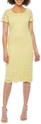 Ronni Nicole Short Sleeve Geo Lace Sheath Dress