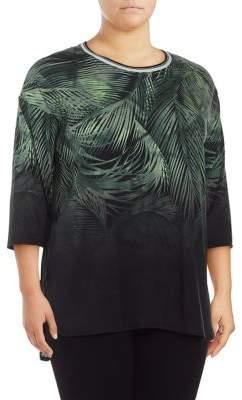 Calvin Klein Plus Tropical Leaf Pullover