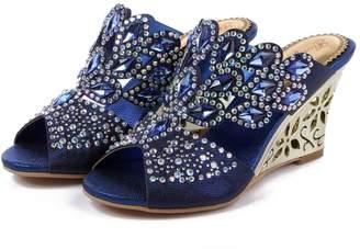 Monie Women's Comfortable Wedding Dress Shoes Wedges for Bride 10.5-11B US