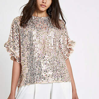 River Island Womens Cream sequin embellished frill sleeve top