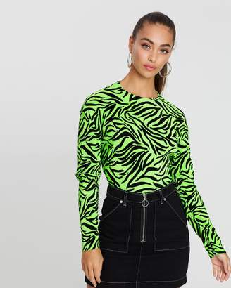 Missguided Plisse Zebra Top