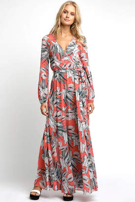 Olive & Jay Palm Printed Wrap Surplice Maxi Dress