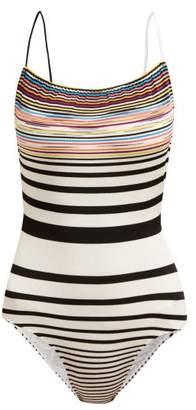 Missoni Mare - Striped Intarsia Knit Cross Back Swimsuit - Womens - White Multi
