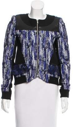 Prabal Gurung Leather-Trimmed Tweed Jacket