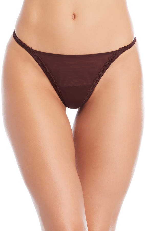 Burgundy Lace Thong
