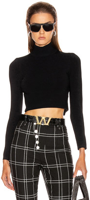 Alexander Wang Cropped Turtleneck Pullover Sweater in Black | FWRD