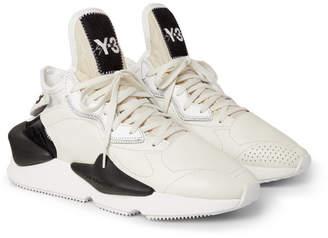 Y-3 Kaiwa Neoprene-Trimmed Full-Grain Leather Sneakers
