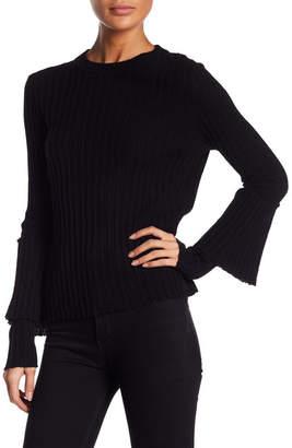 Cullen Mock Neck Long Ruffle Sleeve Cashmere Sweater