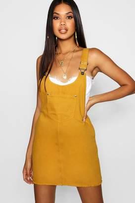 boohoo Mustard Denim Pinafore Dress
