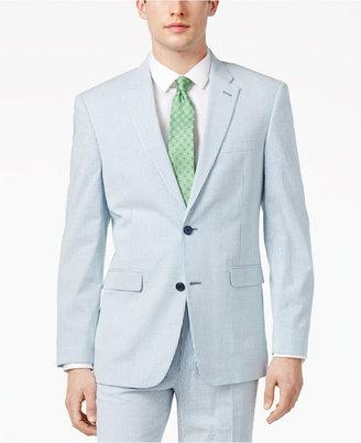 Tommy Hilfiger Men's Slim-Fit Stretch Performance Blue/White Seersucker Suit Jacket $225 thestylecure.com