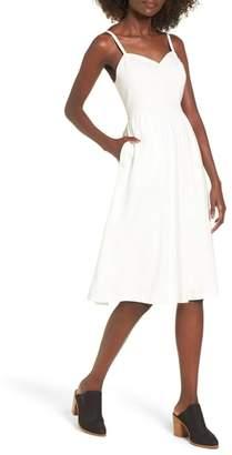 Moon River Cotton & Linen Ballerina Midi Dress