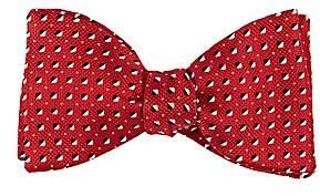 Barneys New York MEN'S SQUARE-DOT SILK JACQUARD BOW TIE-RED