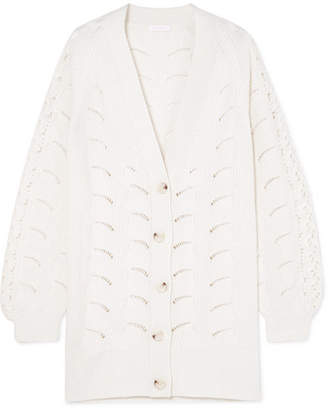 See by Chloe Oversized Crochet-knit Cardigan - Cream