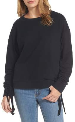 Halogen Ruched Tie Sleeve Sweatshirt (Regular & Petite)