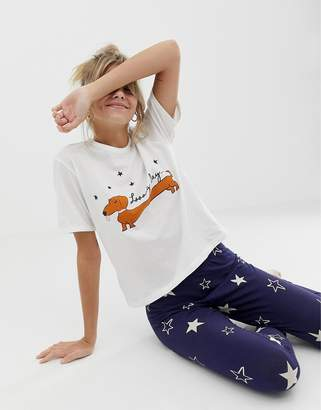 Asos Design DESIGN sausage dog pyjama legging set