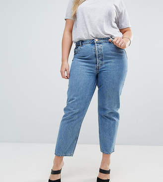 Asos Design Curve Recycled Florence Authentic Straight Leg Jeans In Vintage Blue Wash