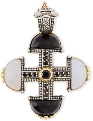 Konstantino Thetis Agate & Spinel Short Cross Pendant