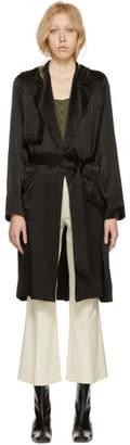 Raquel Allegra Black Satin Trench Coat