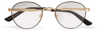Gucci Round-Frame Enamelled Gold-Tone Optical Glasses