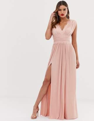 Asos Design DESIGN Fuller Bust PREMIUM Lace Insert Pleated Maxi Dress